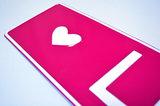 naamplaat licht roze met hart