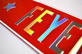 tekstbord glitter rood chroom zilver