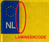 lamineercode motor kentekenplaat